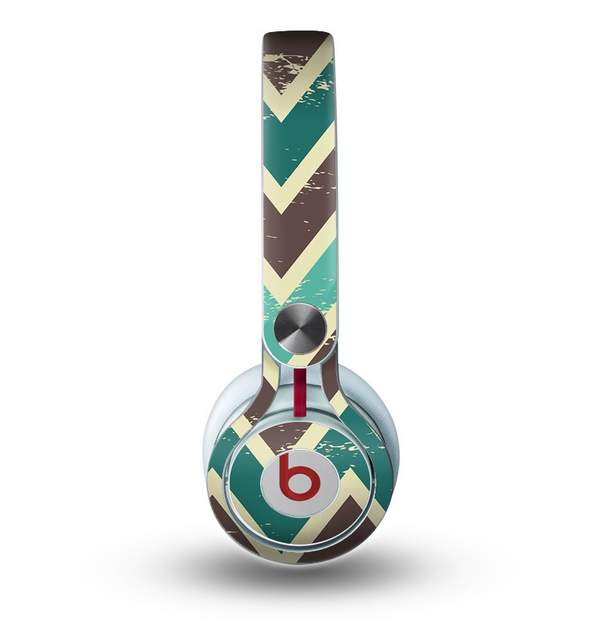 The Vintage Green & Tan Chevron Pattern V3 Skin for the Beats by Dre Mixr Headphones