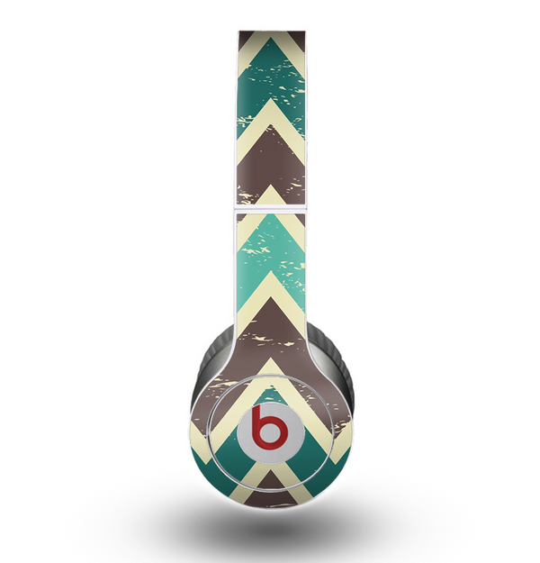 The Vintage Green & Tan Chevron Pattern V3 Skin for the Beats by Dre Original Solo-Solo HD Headphones