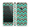 The Vintage Green & Tan Chevron Pattern V4 Skin Set for the Apple iPhone 5s