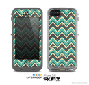 The Vintage Green & Tan Chevron Pattern V4 Skin for the Apple iPhone 5c LifeProof Case