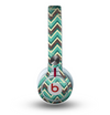 The Vintage Green & Tan Chevron Pattern V4 Skin for the Beats by Dre Mixr Headphones