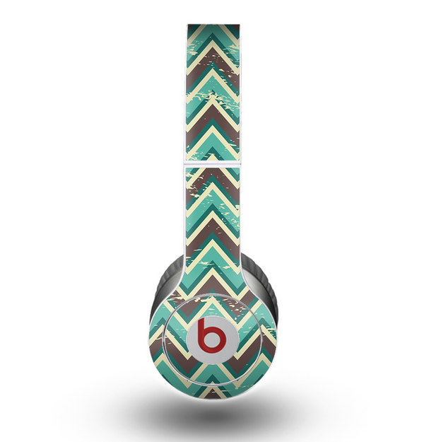The Vintage Green & Tan Chevron Pattern V4 Skin for the Beats by Dre Original Solo-Solo HD Headphones