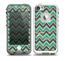 The Vintage Green & Tan Chevron Pattern V4 Skin for the iPhone 5-5s fre LifeProof Case