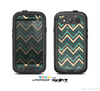 The Vintage Green & Tan Chevron Pattern V5 Skin For The Samsung Galaxy S3 LifeProof Case