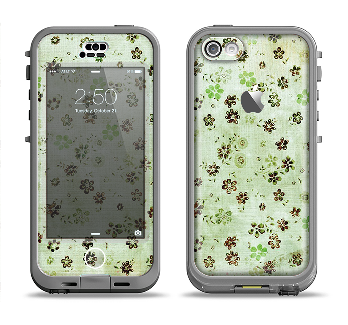 The Vintage Green Tiny Floral Apple iPhone 5c LifeProof Nuud Case Skin Set