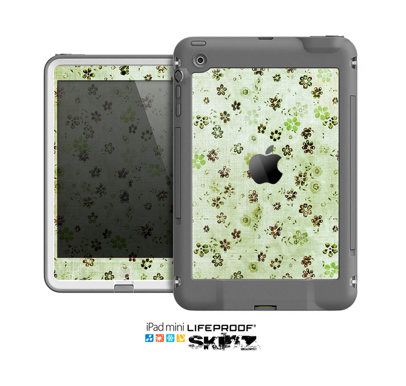The Vintage Green Tiny Floral Skin for the Apple iPad Mini LifeProof Case