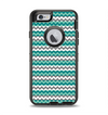 The Vintage Green & White Chevron Pattern V4 Apple iPhone 6 Otterbox Defender Case Skin Set