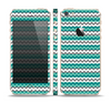 The Vintage Green & White Chevron Pattern V4 Skin Set for the Apple iPhone 5s