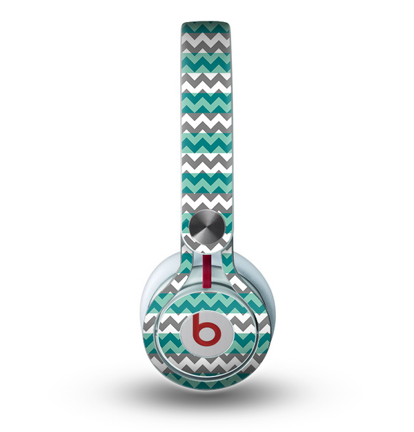 The Vintage Green & White Chevron Pattern V4 Skin for the Beats by Dre Mixr Headphones