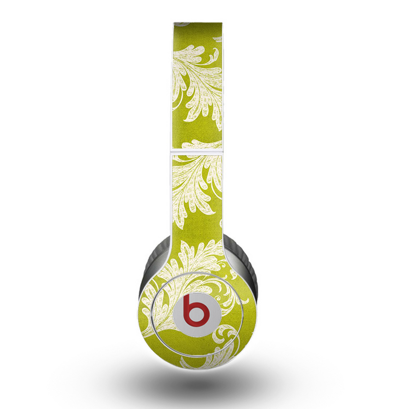 The Vintage Green & White Floral Pattern Skin for the Beats by Dre Original Solo-Solo HD Headphones