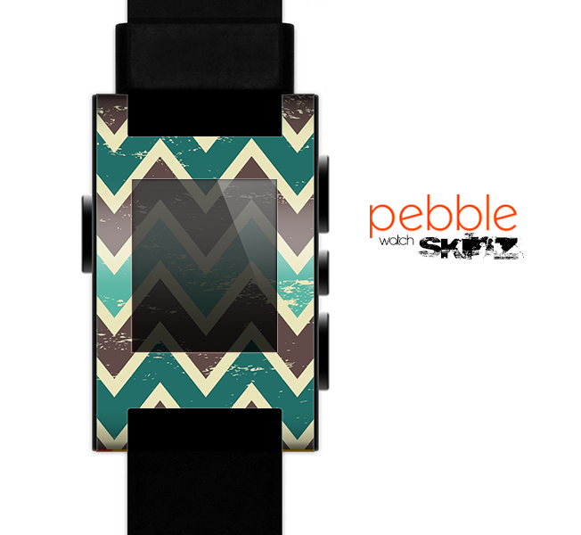 The Vintage Green & Tan Chevron Pattern V3 Skin for the Pebble SmartWatch