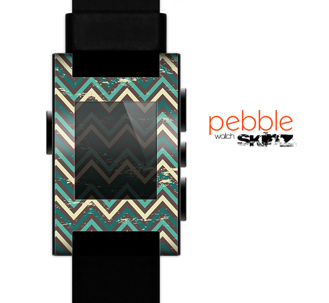 The Vintage Green & Tan Chevron Pattern V5 Skin for the Pebble SmartWatch