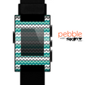 The Vintage Green & White Chevron Pattern V4 Skin for the Pebble SmartWatch