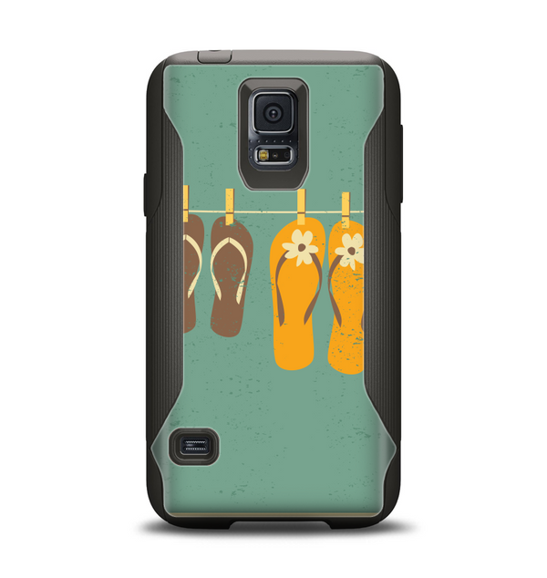 The Vintage Hanging Flip-Flops Samsung Galaxy S5 Otterbox Commuter Case Skin Set
