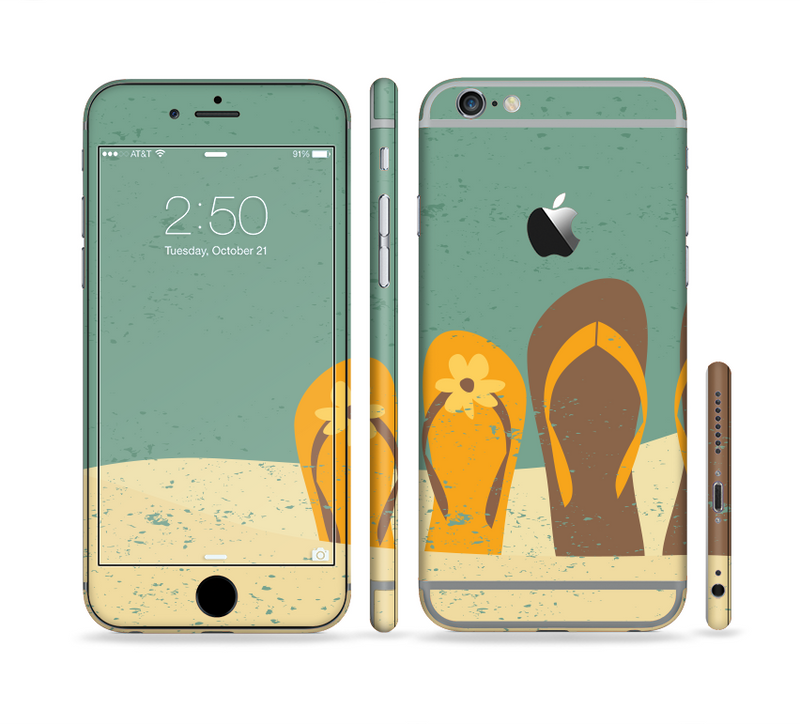 The Vintage His & Her Flip Flops Beach Scene Sectioned Skin Series for the Apple iPhone 6s