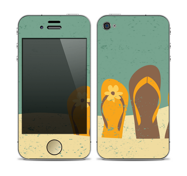 The Vintage His & Her Flip Flops Beach Scene Skin for the Apple iPhone 4-4s
