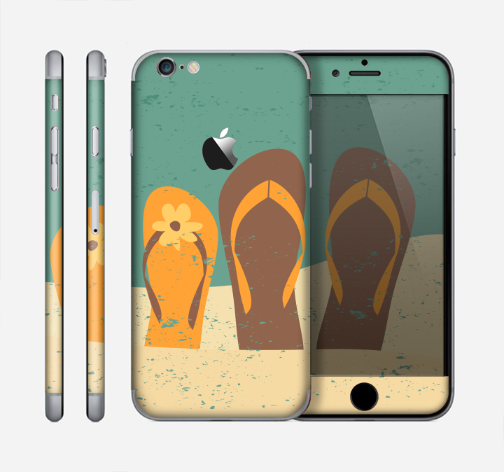 The Vintage His & Her Flip Flops Beach Scene Skin for the Apple iPhone 6
