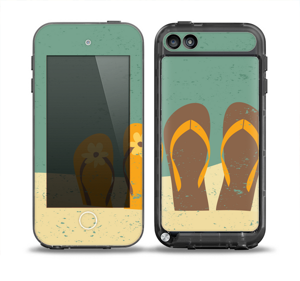 The Vintage His & Her Flip Flops Beach Scene Skin for the iPod Touch 5th Generation frē LifeProof Case