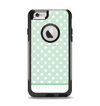 The Vintage Light Green Polka Dot With White Strip Apple iPhone 6 Otterbox Commuter Case Skin Set