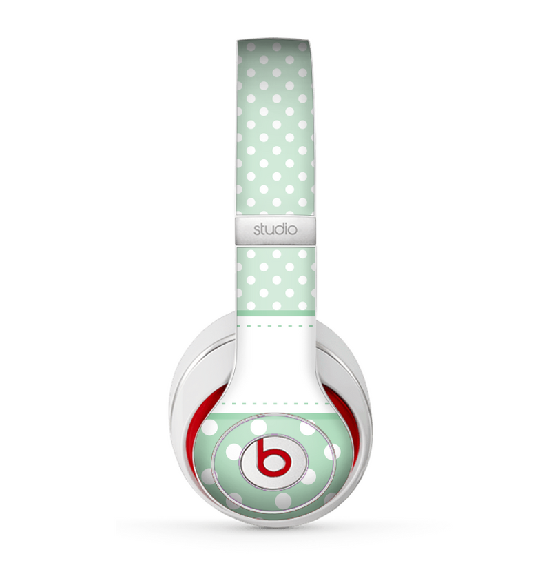 The Vintage Light Green Polka Dot With White Strip Skin for the Beats by Dre Studio (2013+ Version) Headphones