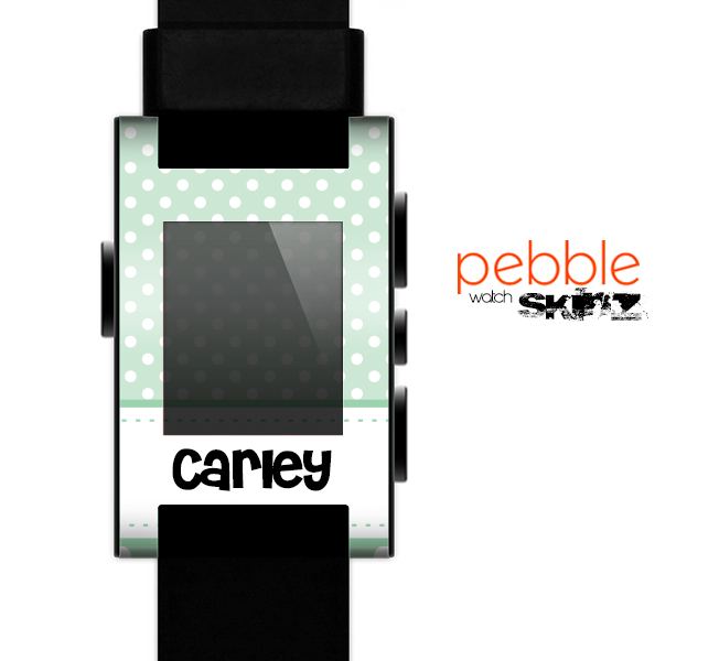 The Vintage Light Green Polka Dot With White Strip Skin for the Pebble SmartWatch