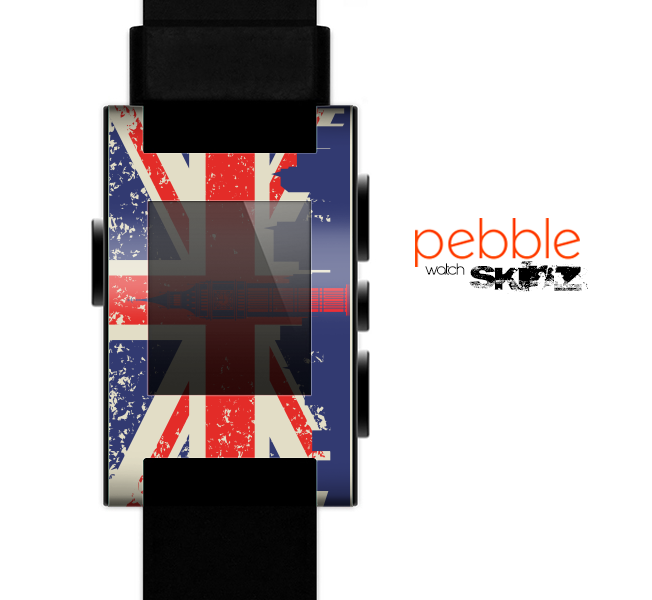 The Vintage London England Flag Skin for the Pebble SmartWatch