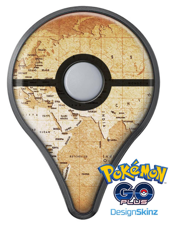 The Vintage Mother Russia Map Pattern Pokémon GO Plus Vinyl Protective Decal Skin Kit