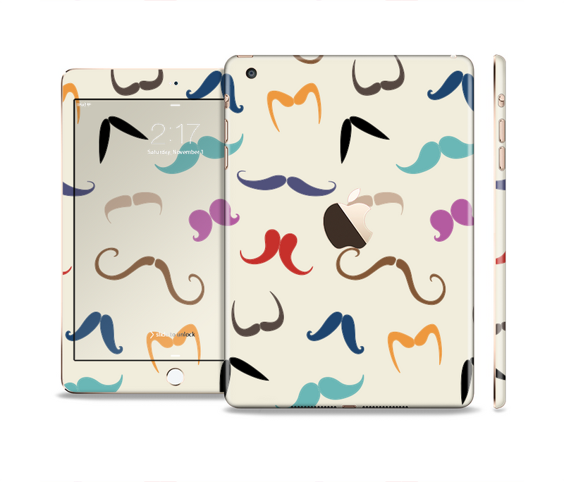 The Vintage Mustache Bundle Full Body Skin Set for the Apple iPad Mini 3