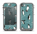 The Vintage Penguin Blue Collage Apple iPhone 5c LifeProof Nuud Case Skin Set