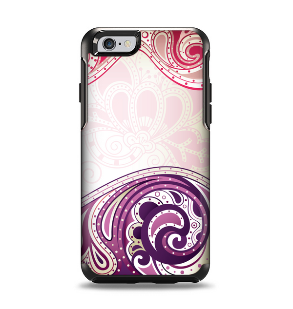 The Vintage Purple Curves with Floral Design Apple iPhone 6 Otterbox Symmetry Case Skin Set