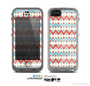 The Vintage Red & Blue Chevron Pattern Skin for the Apple iPhone 5c LifeProof Case