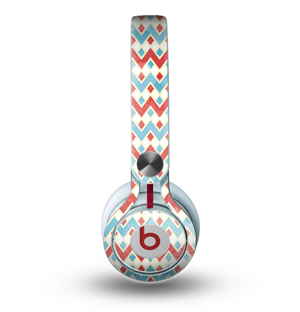 The Vintage Red & Blue Chevron Pattern Skin for the Beats by Dre Mixr Headphones