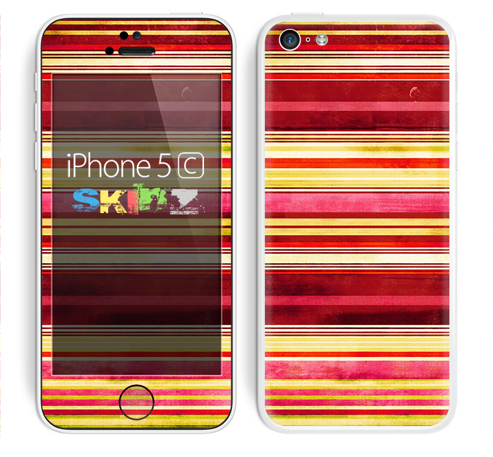 The Vintage Red & Yellow Grunge Striped Skin for the Apple iPhone 5c