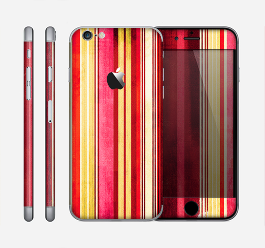 The Vintage Red & Yellow Grunge Striped Skin for the Apple iPhone 6