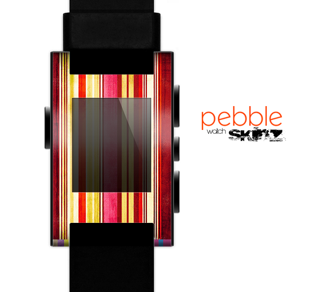 The Vintage Red & Yellow Grunge Striped Skin for the Pebble SmartWatch