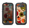 The Vintage Red and Tan Abstarct Shapes Samsung Galaxy S3 LifeProof Fre Case Skin Set