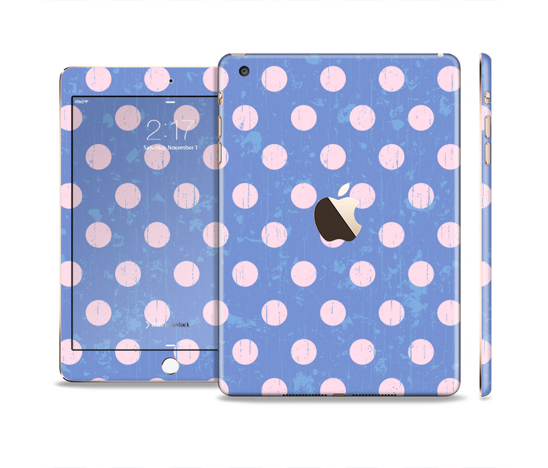 The Vintage Scratched Pink & Purple Polka Dots Full Body Skin Set for the Apple iPad Mini 3