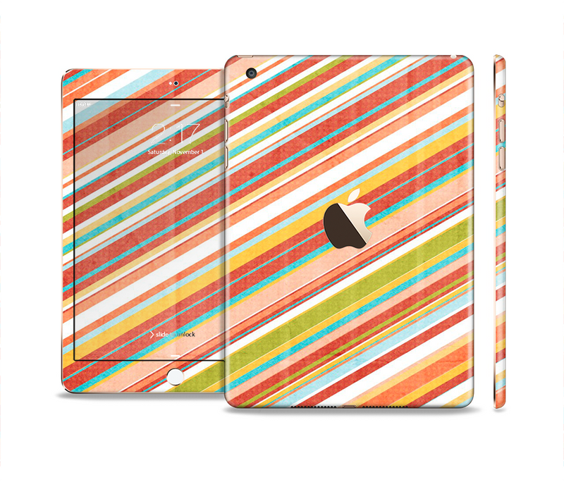 The Vintage Slanted Color Stripes Full Body Skin Set for the Apple iPad Mini 3