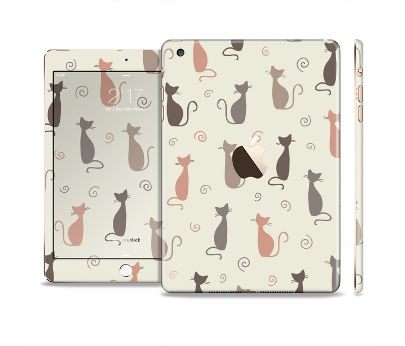 The Vintage Solid Cat Shadows Full Body Skin Set for the Apple iPad Mini 3