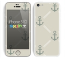 The Vintage Solid Color Anchor Collage V2 Skin for the Apple iPhone 5c