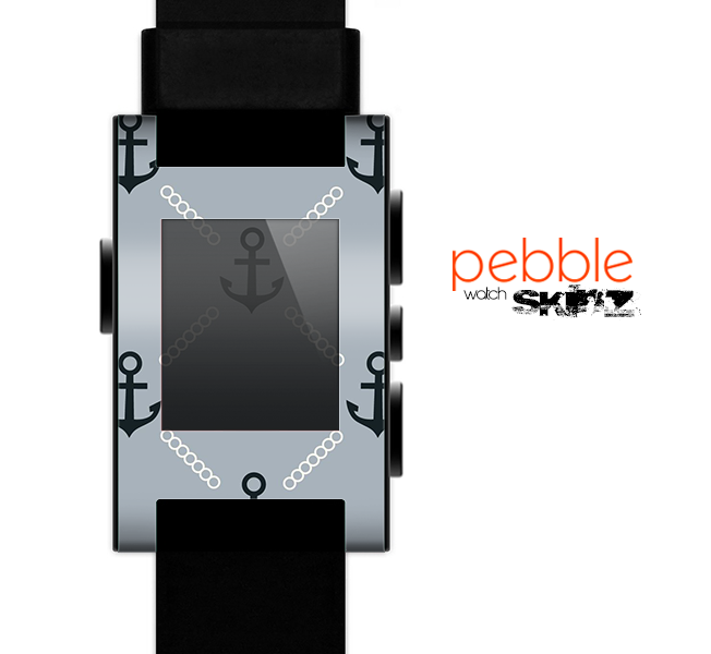 The Vintage Solid Color Anchor Collage V4 Skin for the Pebble SmartWatch