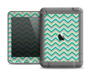 The Vintage Subtle Greens Chevron Pattern Apple iPad Air LifeProof Fre Case Skin Set