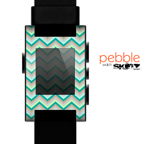 The Vintage Subtle Greens Chevron Pattern Skin for the Pebble SmartWatch