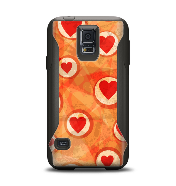 The Vintage Subtle Red and Orange Hearts Samsung Galaxy S5 Otterbox Commuter Case Skin Set