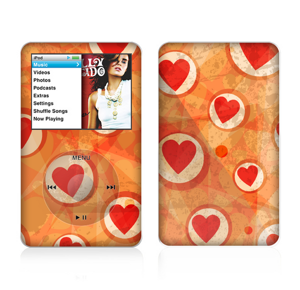 The Vintage Subtle Red and Orange Hearts Skin For The Apple iPod Classic