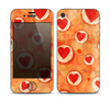 The Vintage Subtle Red and Orange Hearts Skin for the Apple iPhone 4-4s