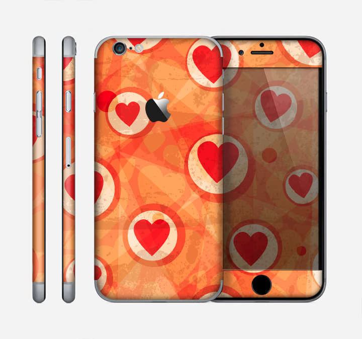 The Vintage Subtle Red and Orange Hearts Skin for the Apple iPhone 6