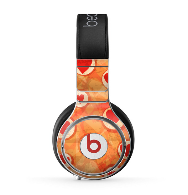 The Vintage Subtle Red and Orange Hearts Skin for the Beats by Dre Pro Headphones