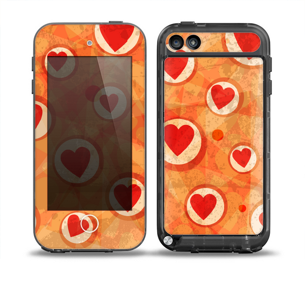The Vintage Subtle Red and Orange Hearts Skin for the iPod Touch 5th Generation frē LifeProof Case