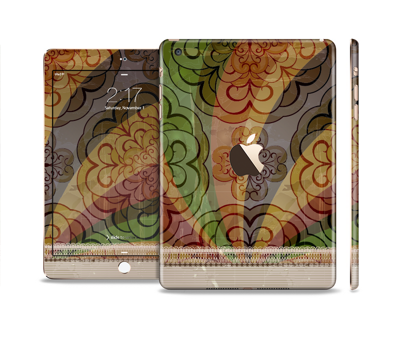 The Vintage Swirled Colorful Pattern Full Body Skin Set for the Apple iPad Mini 3